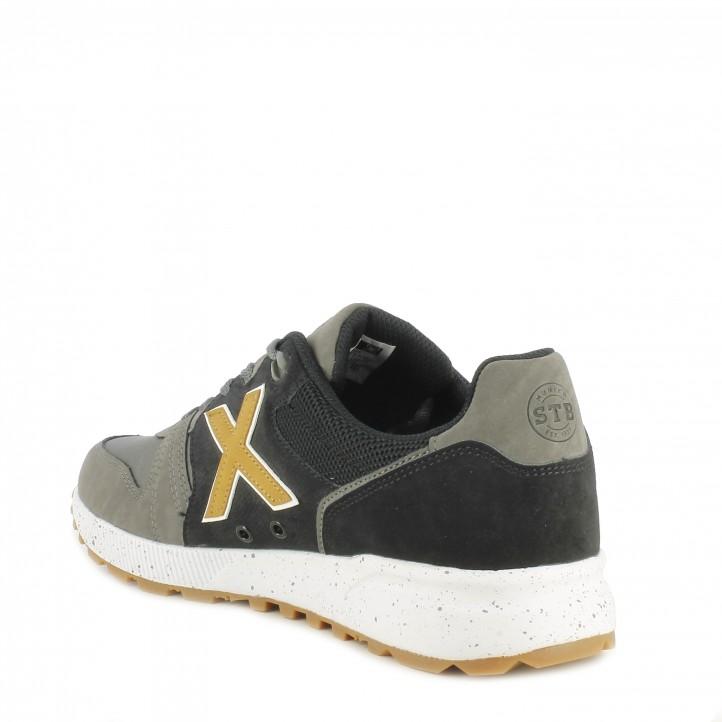Zapatillas deportivas MUNICH mostaza y detalles en marron con cordones suela de goma - Querol online