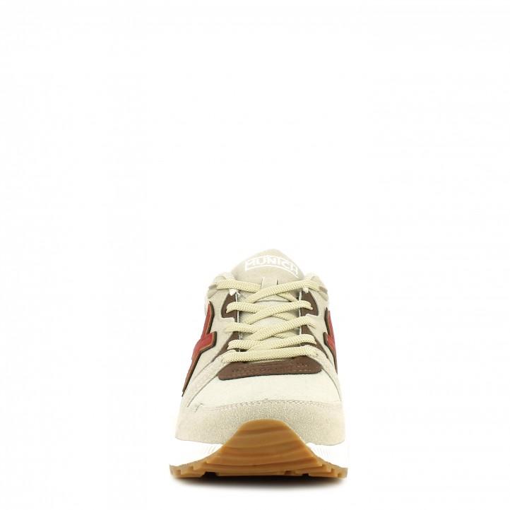 Zapatillas deportivas MUNICH combinado en negro y gris con detalle en marrón con cordones - Querol online