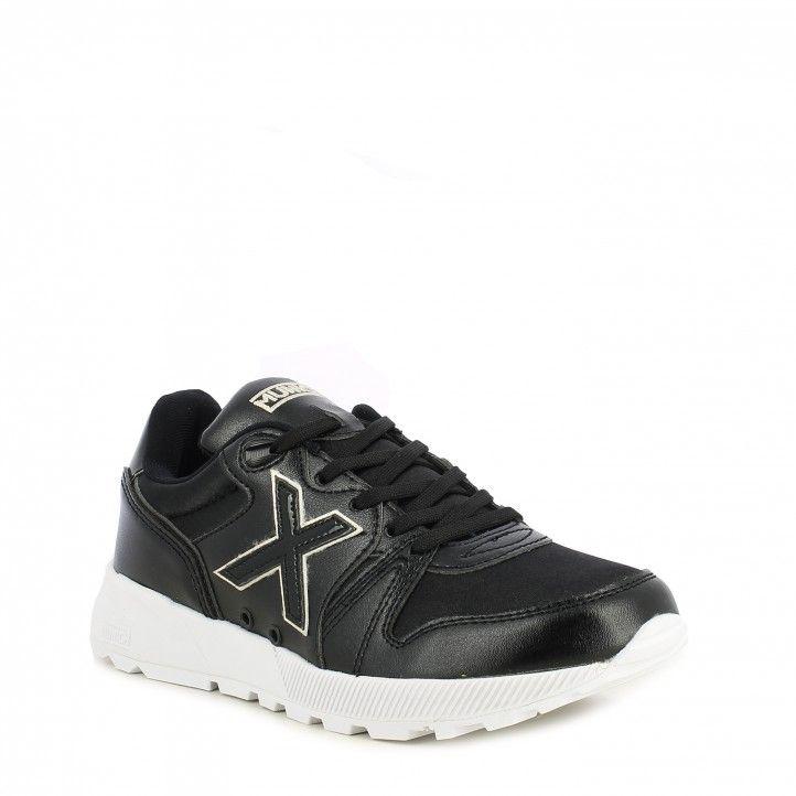 Zapatillas deportivas MUNICH negras con detalles brillanes y cordones suela de goma alta densidad - Querol online