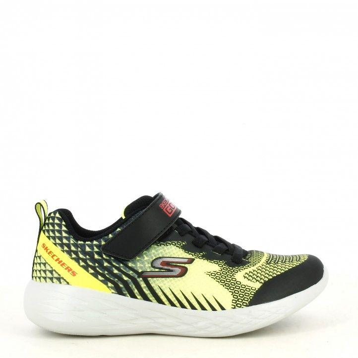 Zapatillas deporte Skechers combinada en negro y amarillo fluor modelo gorun 600 - Querol online
