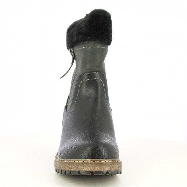 Botines tacón Xti negras con cremalleras en laterales y detalle de pelo sintetico - Querol online