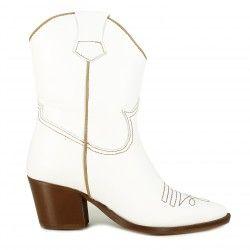 Botas tacón Redlove blancas de piel lisa con costuras marrones - Querol online
