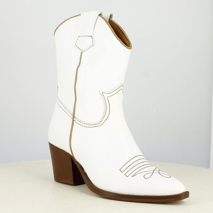 Botes de taló Redlove blanques de pell llisa amb costures marrons - Querol online