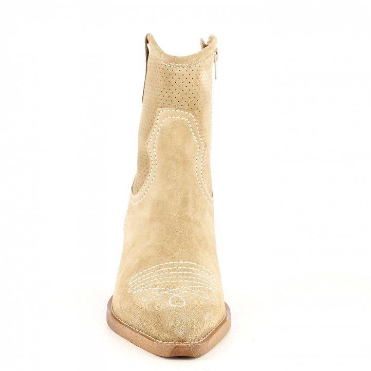 Botins de taló Redlove ante color beix amb costures i cremallera interior - Querol online