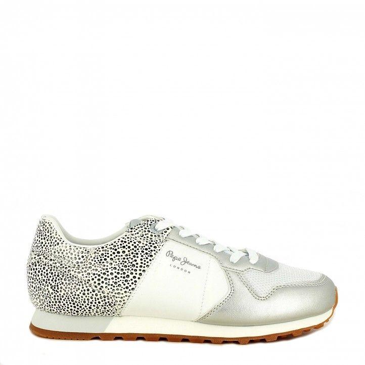 Zapatillas deportivas Pepe Jeans combinado en blanco y metalizado verona - Querol online
