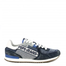 Zapatillas deportivas Pepe Jeans combinado en denim azul tinker tape man - Querol online