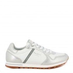 Zapatillas deportivas Pepe Jeans blancas con cordones y detalles metalizados verona - Querol online