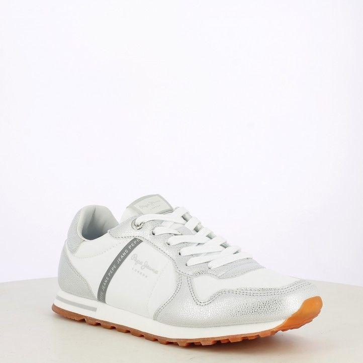 Sabatilles esportives Pepe Jeans blanques amb cordons i detalls metal-litzats - Querol online