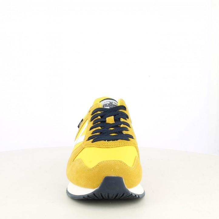 Zapatillas deportivas MUNICH amarilla con cordones azul marino - Querol online