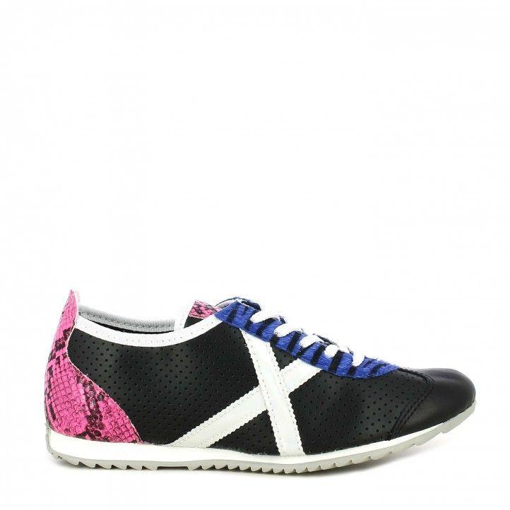 Zapatillas deportivas MUNICH negra osaka con detalles en animal print - Querol online