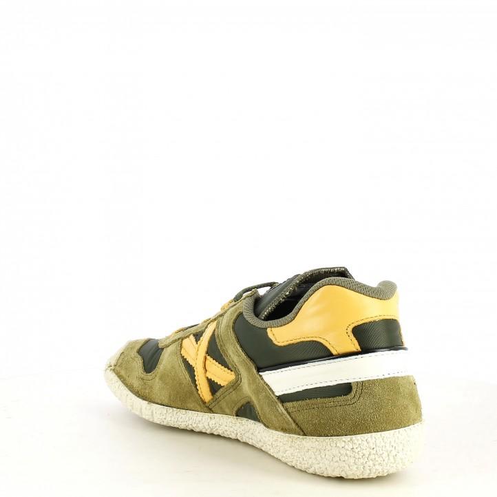 Zapatillas deportivas MUNICH verdes con detalles en amarillo goal - Querol online