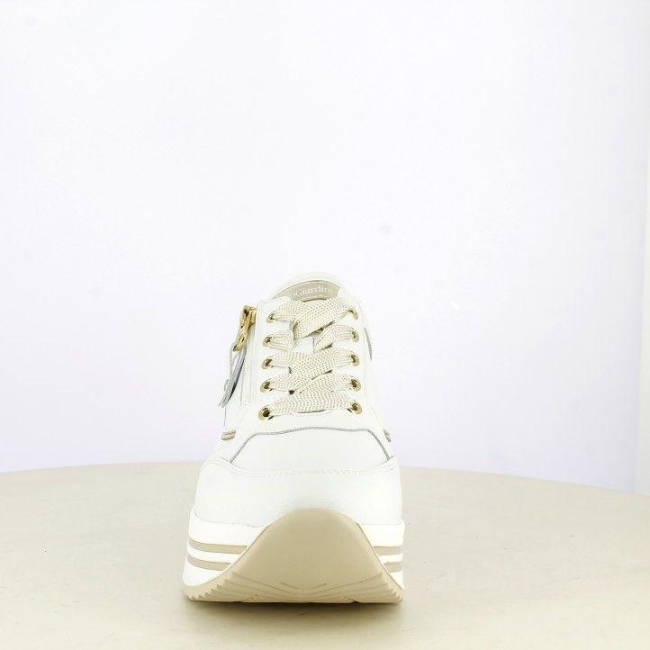 Sabatilles esportives Nero Giardini blanques amb cordons i cremallera lateral, detalls daurats - Querol online