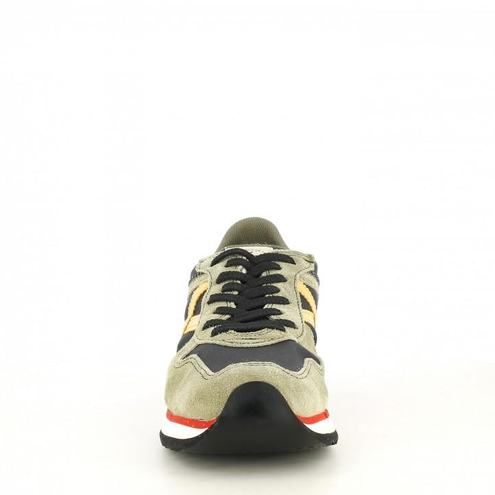 Zapatillas deportivas MUNICH combinada en verde negro con detalles amarillo nou - Querol online