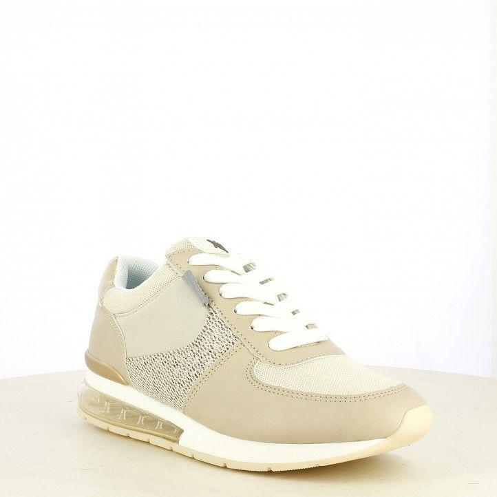 Zapatillas deportivas Xti beige con cordones y camara de aire - Querol online
