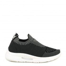 Zapatillas deportivas Xti jaspeada en negro y gris sin cordones textil elástico