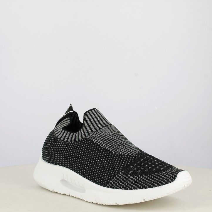 Zapatillas deportivas Xti jaspeada en negro y gris sin cordones textil elástico - Querol online