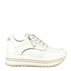 Zapatillas deportivas Nero Giardini blanca con cordones y cremallera lateral, detalles dorados