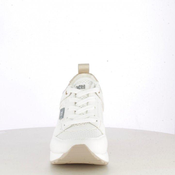 Sabatilles esportives Xti blanques amb detalls daurats falca de 6cm i cambra d´aire - Querol online