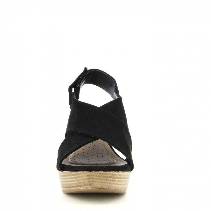 Sandalias tacón Xti negras antelina con cierre en velcro - Querol online