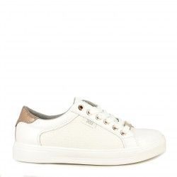 Zapatillas deportivas Xti blancas con cordones, detalles dorados