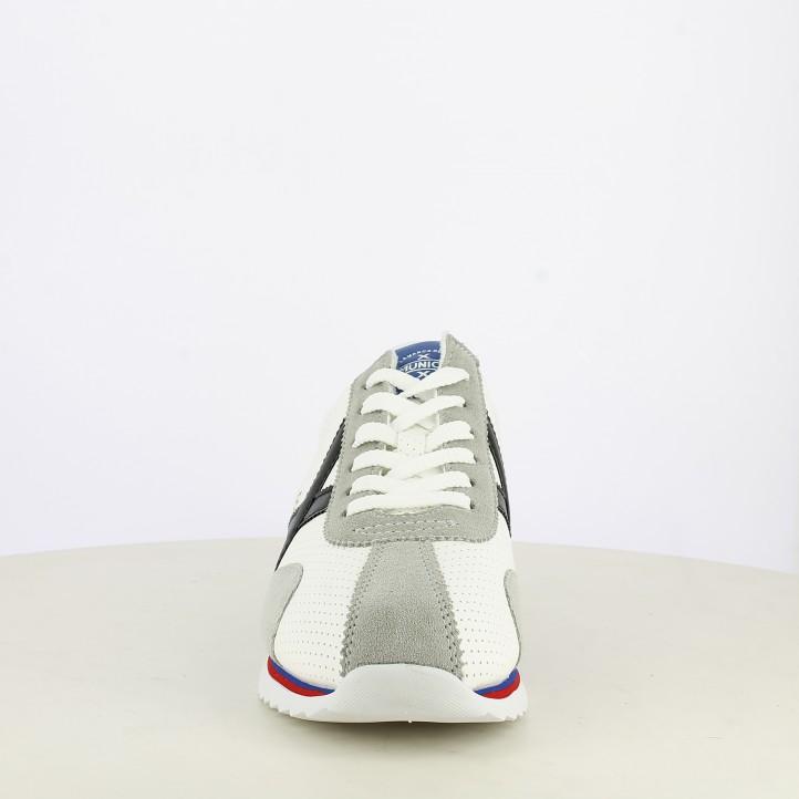 Zapatillas deportivas MUNICH blanco perforado acabados en negro y azul sapporo 82 - Querol online
