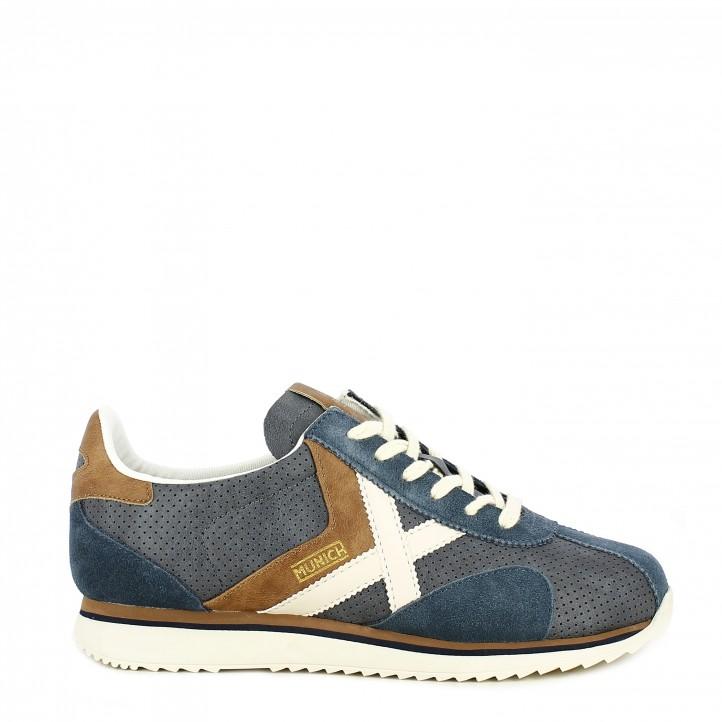 Zapatillas deportivas MUNICH azul marino perforado acabados en blanco y marrón sapporo 85 - Querol online