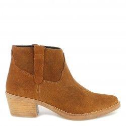 Botines tacón Redlove marrones de piel con cremallera lateral estilo cowboy - Querol online