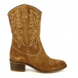 Botas tacón Redlove de piel marrones de estilo cowboy - Querol online