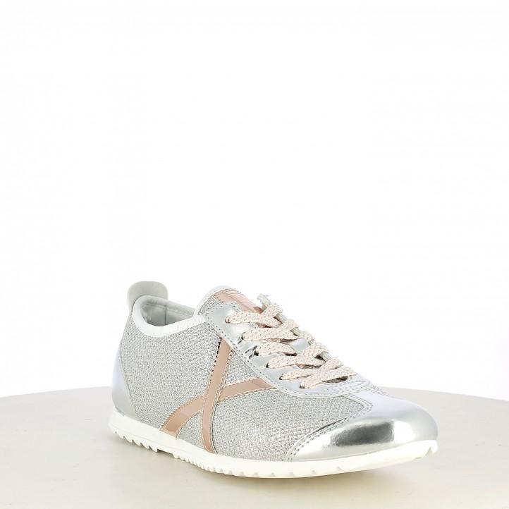 Zapatillas deportivas MUNICH plata con detalles en rosa brillante osaka 409 - Querol online