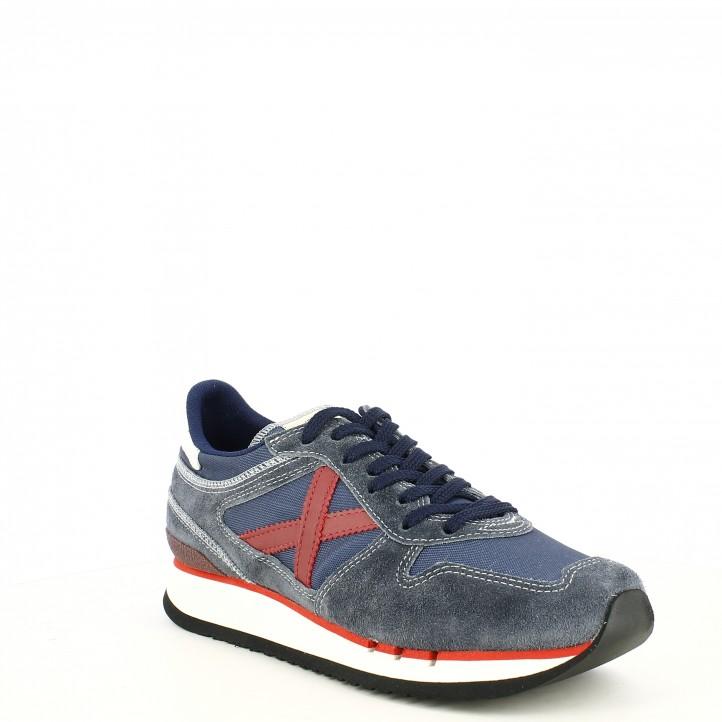 Zapatillas deportivas MUNICH azul combinada con rojo nou munich 88 - Querol online