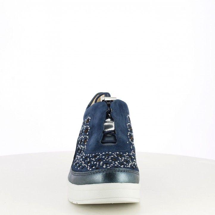 Zapatillas deportivas STONEFLY azul marino con elásticos, cuña y adornos metálicos - Querol online