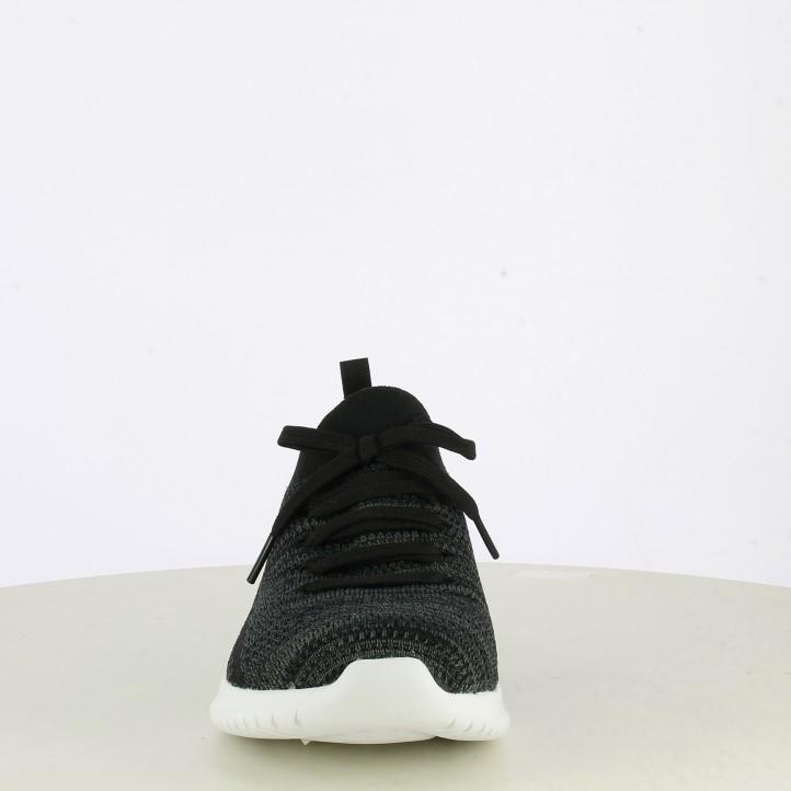 Zapatillas deportivas Skechers negro y gris jaspeado con cordones elásticos bkgy ultra flex - Querol online