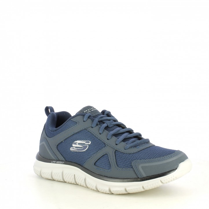 Sabatilles esportives Skechers blau marí amb cordons plantilla memory foam - Querol online