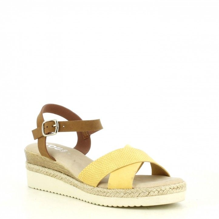Sandalias cuña You Too amarilla y marrón con media suela de esparto tira con hebilla - Querol online