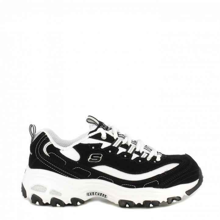 Zapatillas deportivas Skechers blanca y negra d´lites giggest fan - Querol online