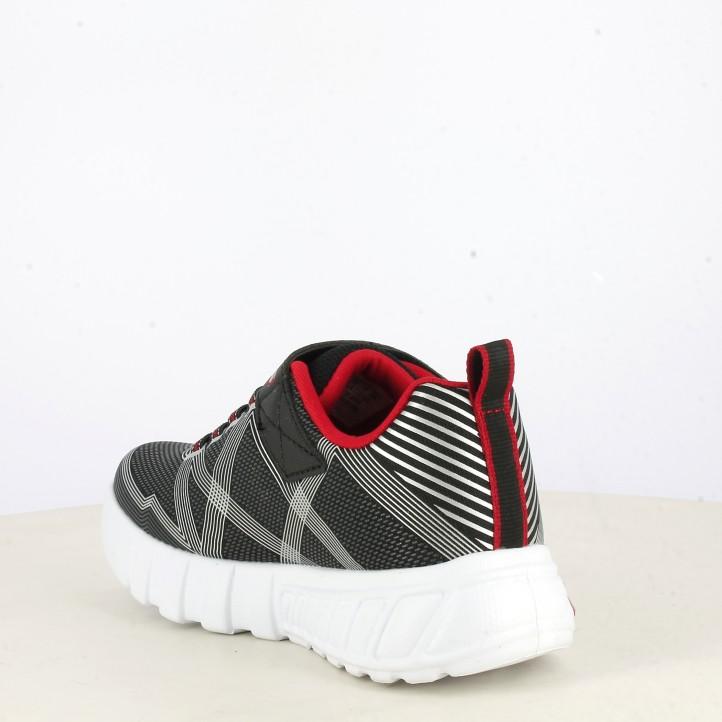 Zapatillas deporte Skechers negras y plata lcon luces flex glow - Querol online