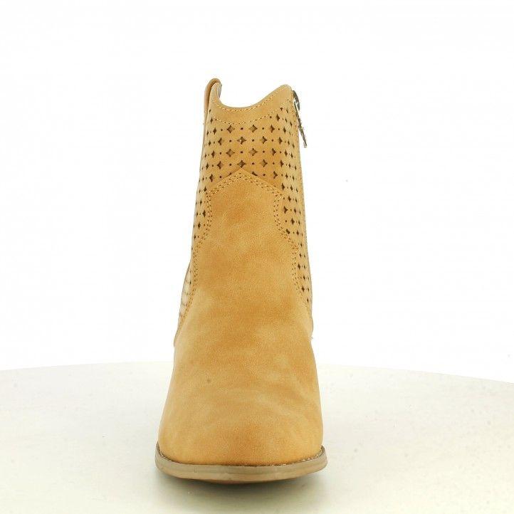 Botins de taló Xti camel amb cremallera lateral taló de 7cm sola de goma - Querol online