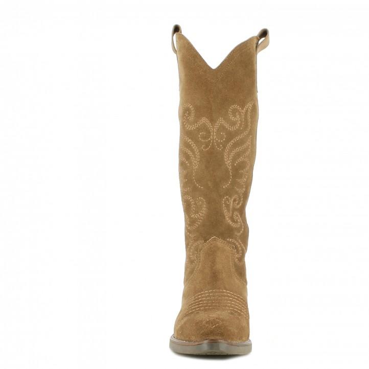 Botas tacón KALFU marrón con bordado al tono - Querol online