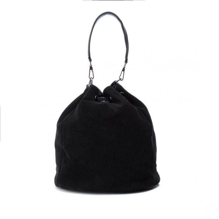 bosses Carmela negre de pell amb doble ansa - Querol online