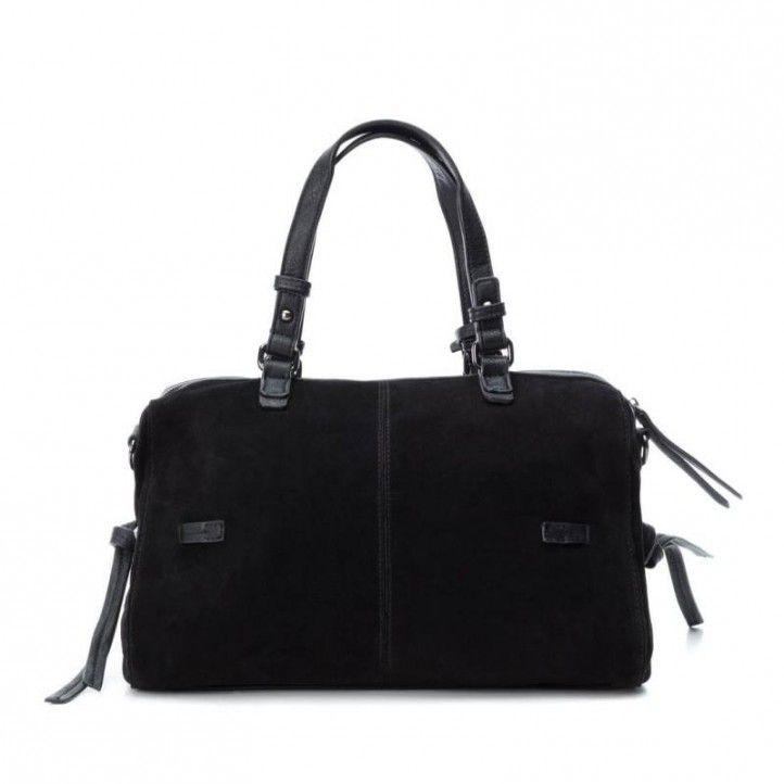 bosses Carmela negre amb doble posició i tatxes decoratives tancament amb cremallera - Querol online