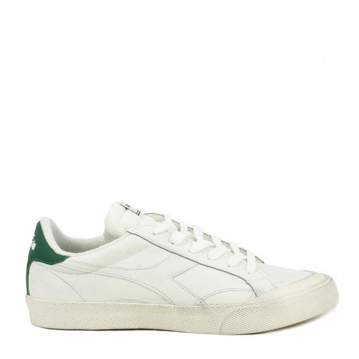 Zapatillas deportivas Diadora blancas con detalle en verde melody - Querol online