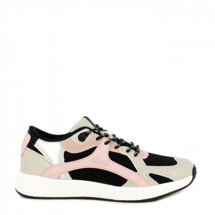 Zapatillas deportivas Mustang negra con cordones detalles en rosa y gris - Querol online