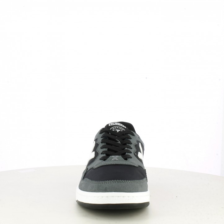 Zapatillas deportivas MUNICH negras con cordones detalles en blanco y gris arrow - Querol online
