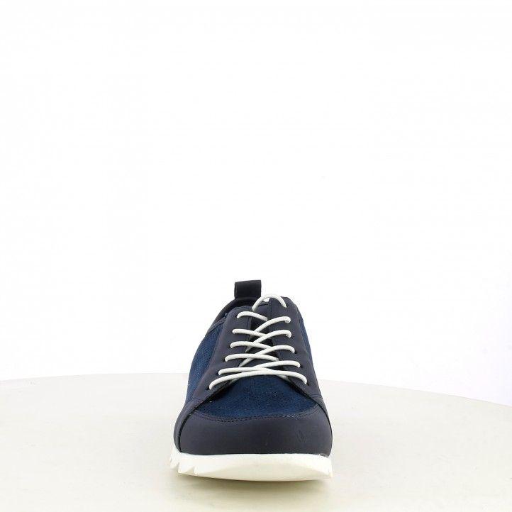 Zapatos planos Amarpies azul mariono con cordones plantillas de piel extraíble - Querol online