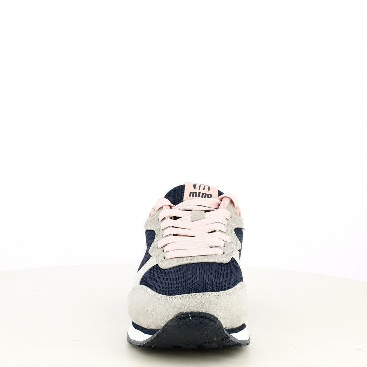 Zapatillas deportivas Mustang azul con detalles en rosa soft gris - Querol online