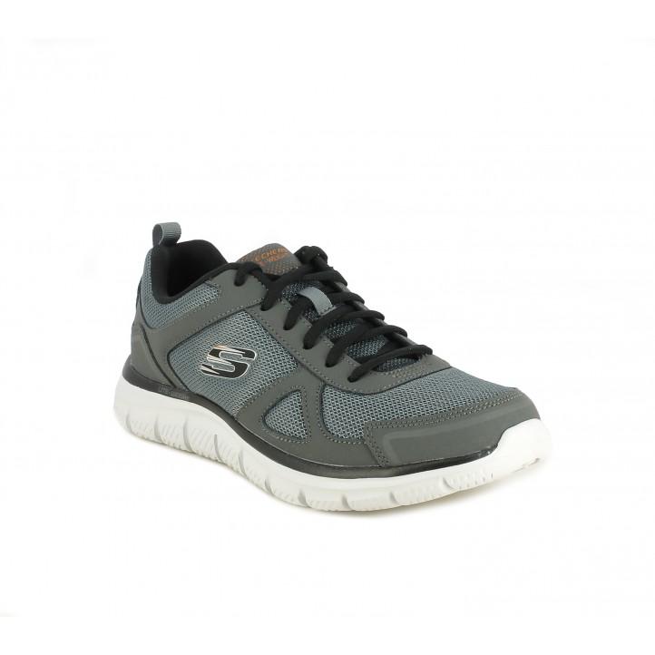 Zapatillas deportivas Skechers grises de cordones con tonos en negro - Querol online