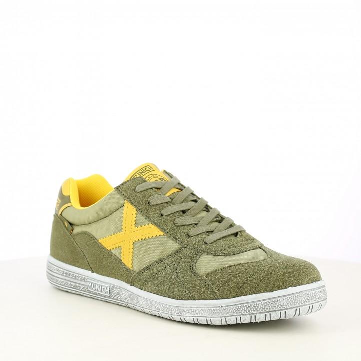 Zapatillas deportivas MUNICH g3 verdes y amarilla con cordones - Querol online