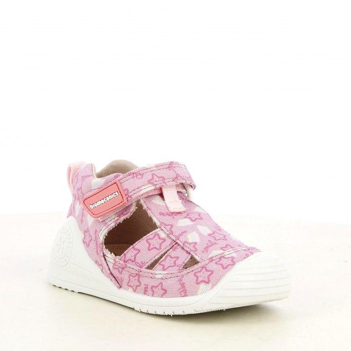 Sandalias abotinadas Biomecanics rosa puntera reforzada suela flexible y plantilla de piel extraíble - Querol online