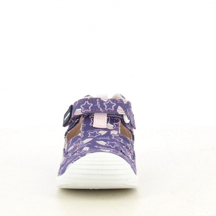 Sandalias abotinadas Biomecanics lila puntera reforzada suela flexible y plantilla de piel extraíble - Querol online