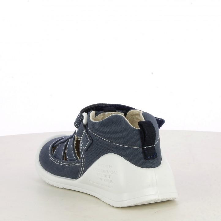 Sandalias abotinadas Biomecanics azul marino de algodón plantilla de piel extraíble - Querol online